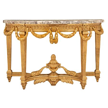 A French 19th century Louis XVI st. giltwood and marble freestanding console
