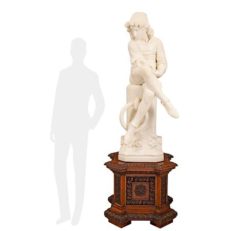 An Italian 19th century white Carrara marble statue of Colombo Giovinetto, signed by Monteverde, Roma