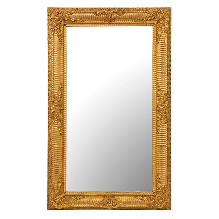 A French mid 19th century Louis XVI st. rectangular giltwood mirror