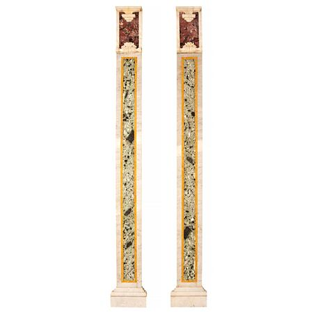 A pair of Italian 19th century Neo-Classical st. Carrara, Vert Antique, Sienna and Rosso Levanto marble, wall mounted columns