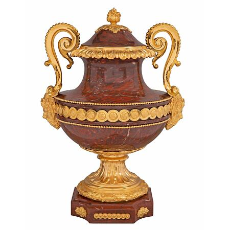 A French 19th Century Louis XVI st. Rouge Griotte marble and ormolu lidded urn