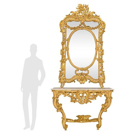 A French early 19th century Louis XV st. giltwood and white Carrara marble console and matching mirror
