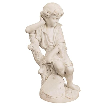 An Italian 19th century white Carrara marble statue of a young Benjamin Franklin, signed P. Bazzanti, Florence