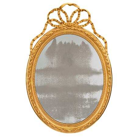 A French 19th century Louis XVI st. oval giltwood mirror