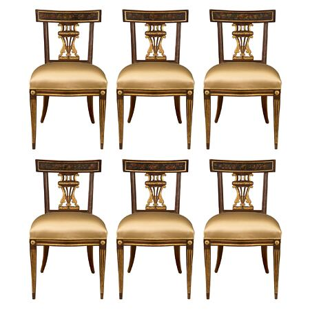 A complete set of six Italian 18th century Louis XVI period walnut and hand painted dinning chairs from Lucca