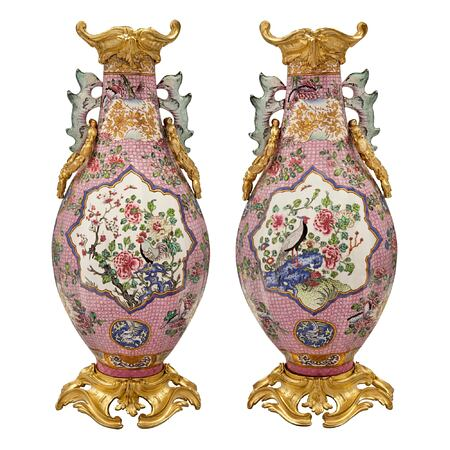 A pair of Japanese Export 19th century Louis XV st. Famille Rose porcelain vases with French ormolu mounts
