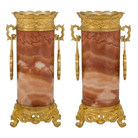 A pair of French 19th century Napoleon III period Alabastro Fiorito and ormolu vases