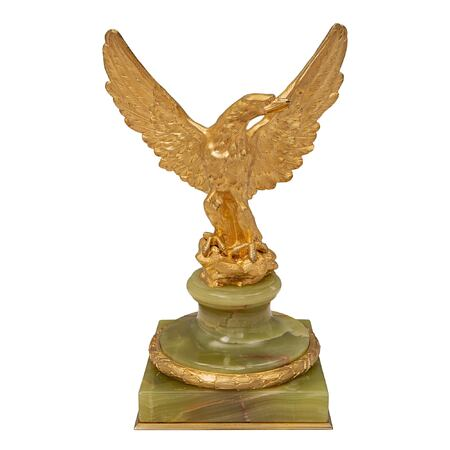 A French 19th century Louis XVI st. onyx and ormolu statue of an eagle