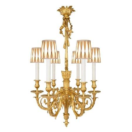 A French 19th century Louis XVI st. Belle Époque period six arm ormolu chandelier