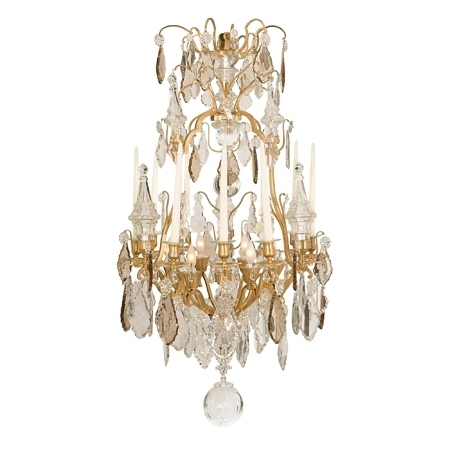 A French 19th century Louis XV st. ormolu and Baccarat crystal six light chandelier, circa. 1840