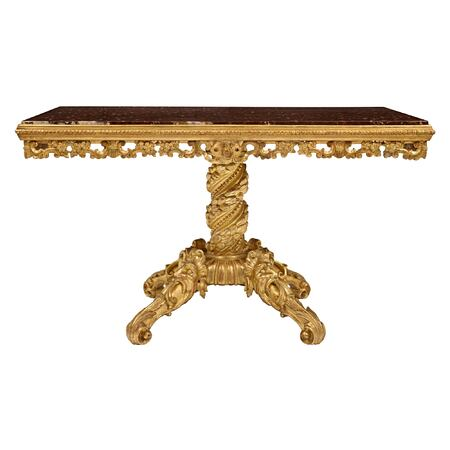 An Italian early 19th century giltwood and Rouge Griotte marble rectangular center table