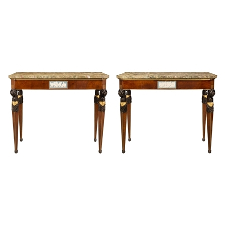 A pair of Italian 19th century Neo-Classical st. mahogany consoles