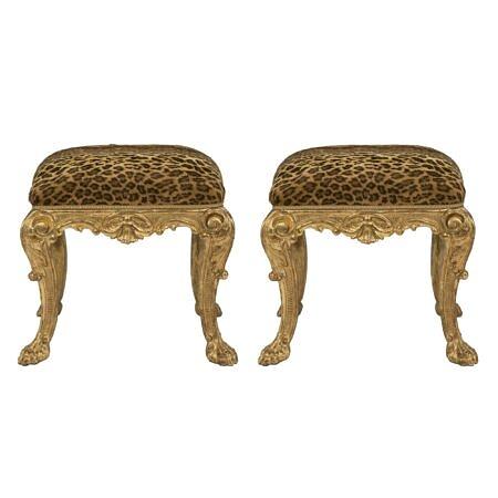 A pair of Italian 17th century Louis XIV period giltwood stools