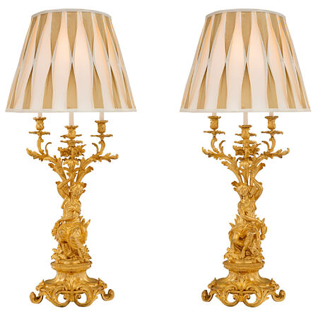 A French 19th century Louis XV st. Belle Époque period ormolu candelabras lamps, signed Picard