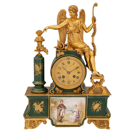 A French 19th century Neo-Classical st. porcelain and ormolu clock