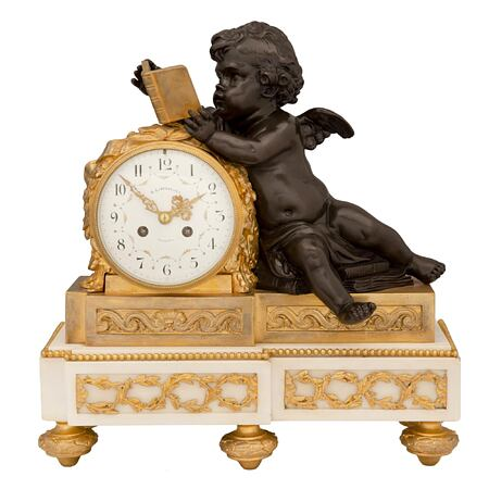 A French mid 19th century Louis XVI st. patinated bronze, ormolu and white Carrara marble clock, signed H Luppens & Cie