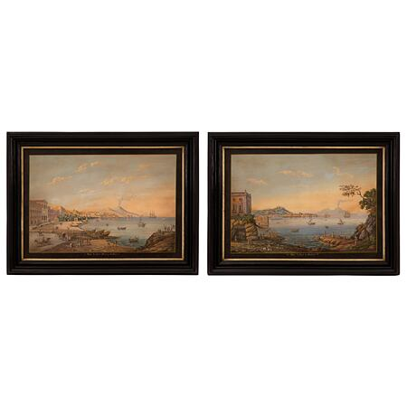A pair of Italian 19th century Louis XVI st. gouaches in their original ebonized fruitwood and Mecca frames
