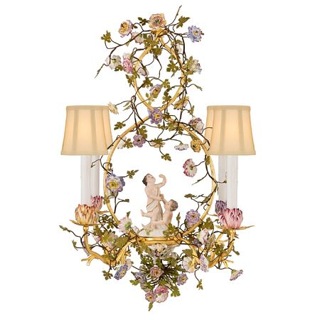 A Country French 19th century Louis XVI st. gilt metal, tole and Saxe porcelain four arm chandelier