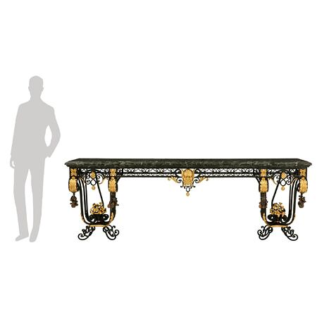 An Italian 19th century wrought iron, gilt metal, tole and Vert Maurin marble wall mounted console
