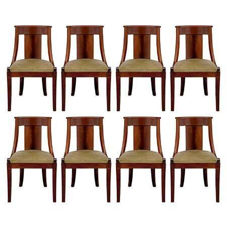 A set of eight French 19th century Empire st. mahogany side/dining chairs