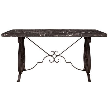 A Country French 19th century wrought iron and Grand Antique marble center/dining table