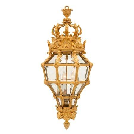 A French 19th century Louis XVI st. ormolu and crystal lantern