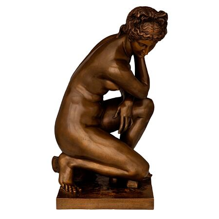 """A French 19th century patinated bronze statue of kneeling Venus, signed F. Barbedienne Fondeur and stamped """"Reduction Mecanique A Collas"""""""