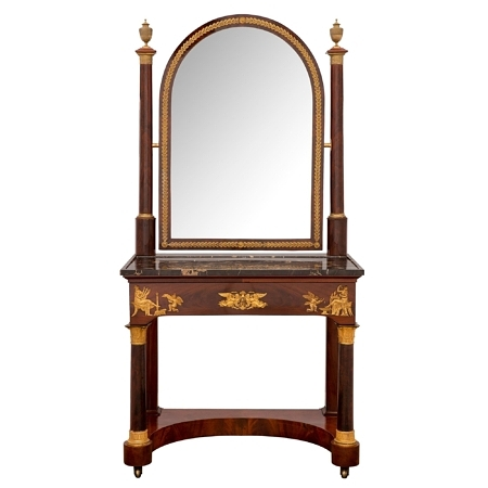 A French 19th century 1st Empire period ormolu, flamed mahogany and Portoro marble mirrored vanity table