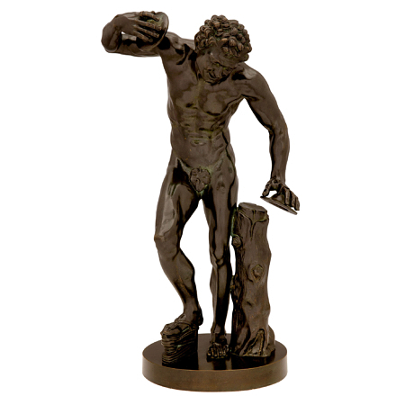 A Continental 19th century patinated bronze statue of a dancing faun with cymbals, signed 'Musée de Florence'