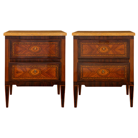 A pair of Italian 19th century Louis XVI st. kingwood, tulipwood and Sienna marble commodes