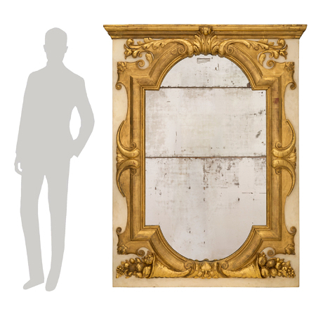 An Italian 19th century giltwood and patinated off white mirror