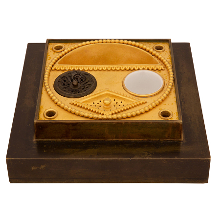 A French early 19th century 1st Empire period patinated bronze and ormolu inkwell, circa 1805