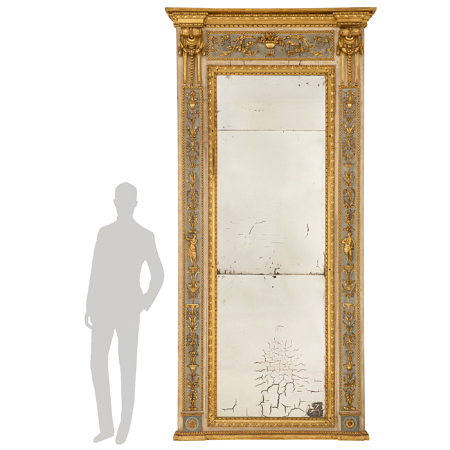 An Italian 18th century Louis XVI period patinated wood and giltwood trumeau mirror